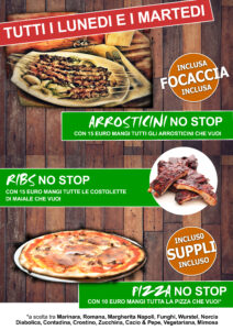 LUNEDI 19/10 - Ribs No Stop - Pizza No Stop - Arrosticini No Stop @ KILL JOY
